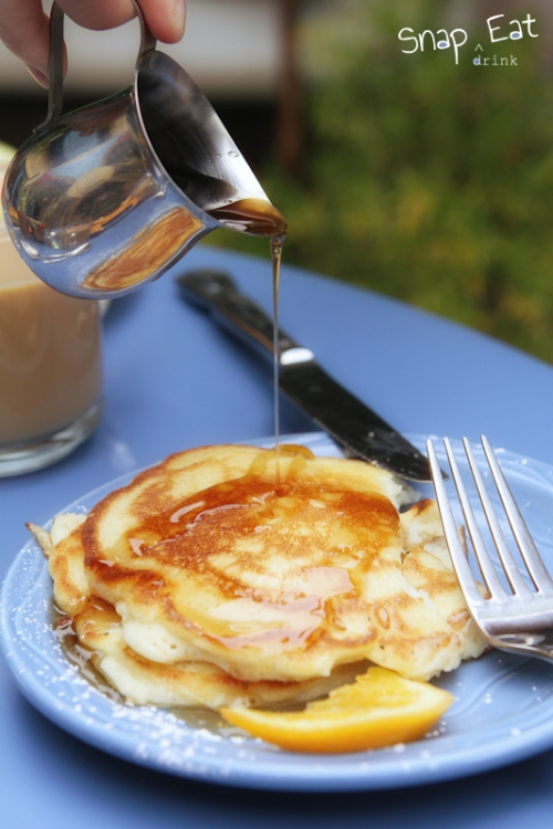 Lemon Coconut Pancake with Warm Syrup